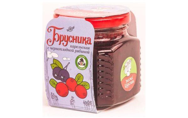 Варенье «Брусника карельская» с черноплодной рябиной 250 г. стеклянная банка